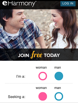 eharmony mobile registration step 1