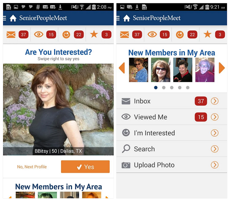 seniorpeoplemeet Android app screenshot 2