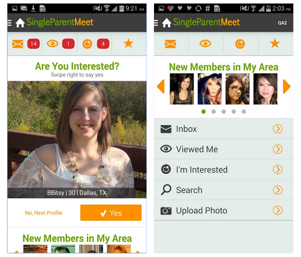 Singleparentmeet Android app screenshot 2