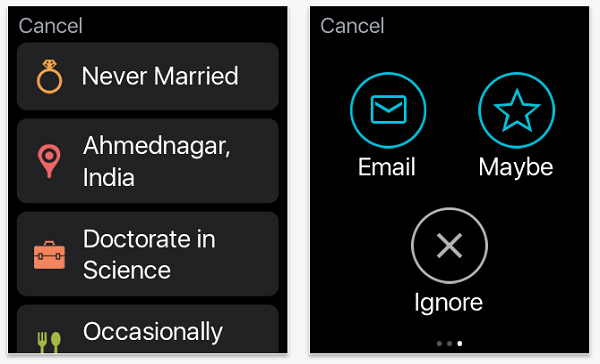 Shaadi Apple Watch App Screenshot 2